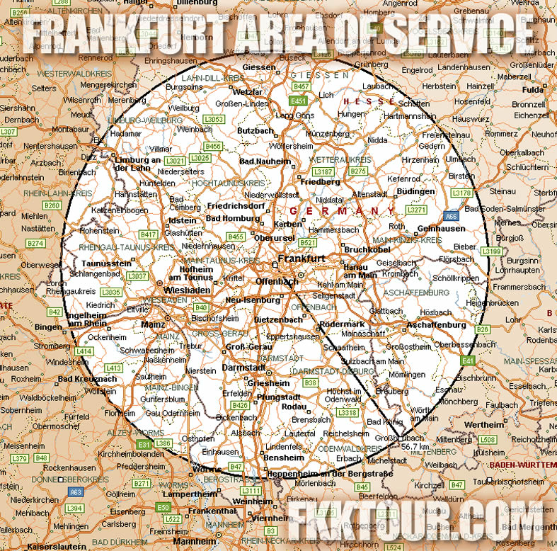 Frankfurt Am Main FKKTOUR Area of Service