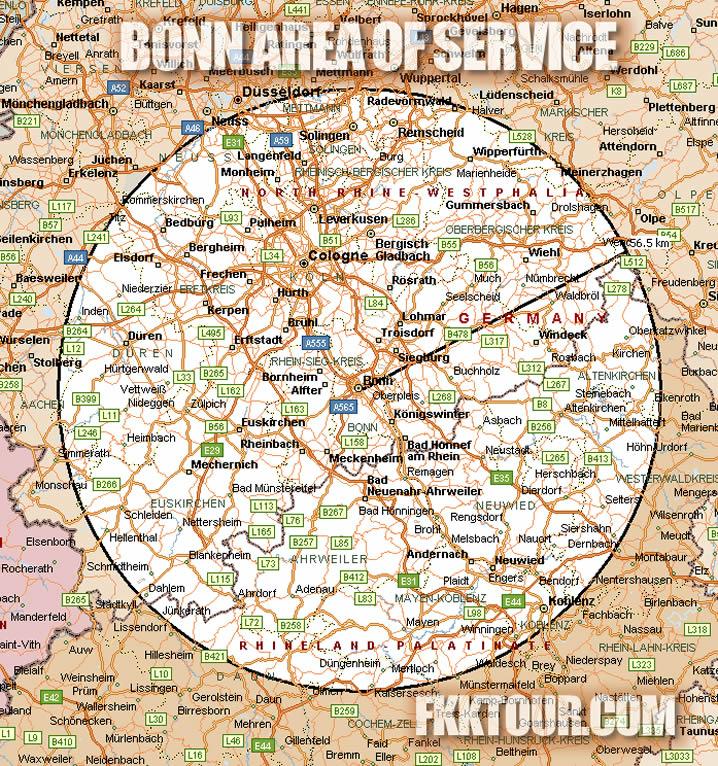 Bonn FKKTOUR Area of Service