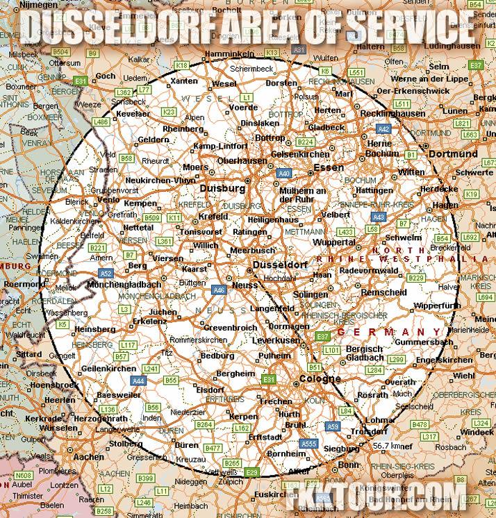 Dusseldorf FKKTOUR Area of Service