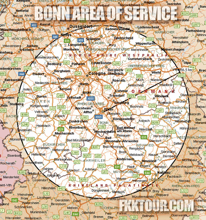 Bonn FKKTOUR Area of Service